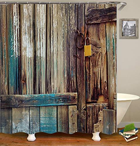 CaknQizawyy Pittura ad Olio Marrone Blu Bianco Porta in Legno Blocco Giallo Impermeabile e Protezione Ambientale Ganci Cintura HD Lavabile Bagno Doccia Tenda