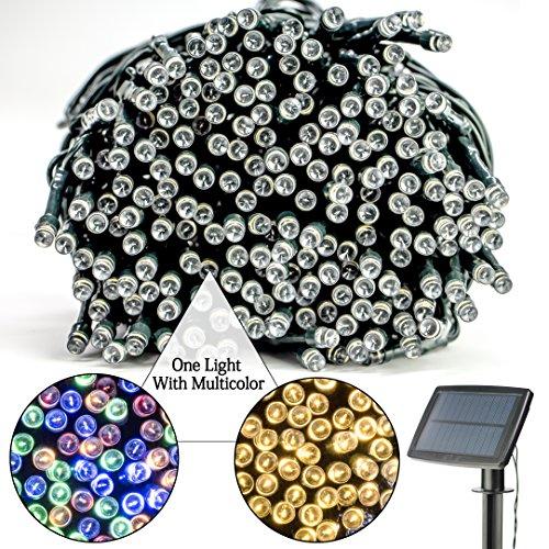 Chaîne de lumières de solaire LED, grand tableau de charge, la batterie au lithium, 100 perles de lampe, 39 pouces, 8 modes de fonctionnement, quatre couleurs colorées + blanc chaud, étanche, le mariage de famille en plein air.