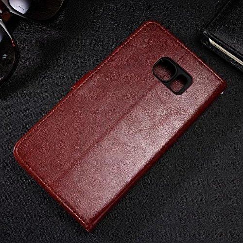 Wkae Case Cover Samsung S7edge Plus-Fall feste Folio magnetische Design Flip Brieftasche Stil Fall Farbmuster PU-Leder-Abdeckung Standup-Abdeckungsfall für Samsung S7edge plus ( Color : Black , Size : Brown
