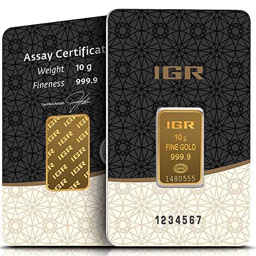 IGR Gold 10g Gramm Goldbarren 999.9 Geschenk Anlage Zertifiziert