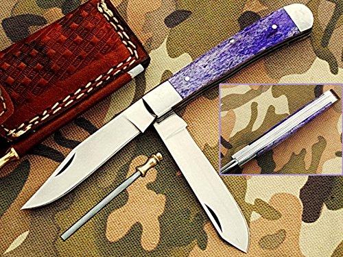 faite à la main 18 cm Trapper double lames Awesome couteau de poche pliant fabriqué avec 420 D2 en acier et manche en os de chameau : (Bdm-35)