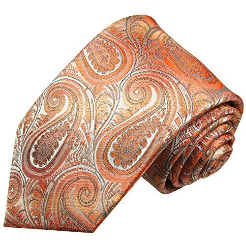 Cravate homme orange paisley 100% cravate en soie ( longueur 165cm )