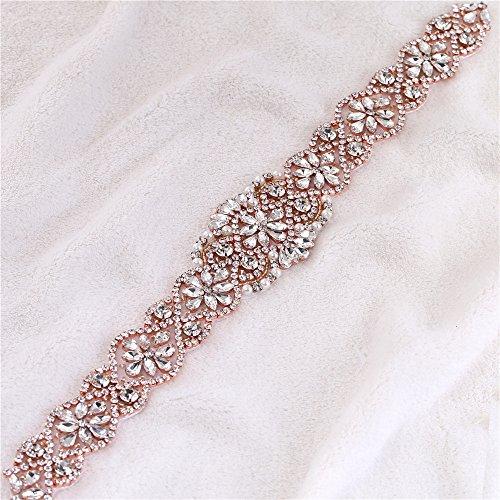 Handgemachte Perlen Nähen Braut Schärpe applique Kristall Roségold klar Rhinestone Applikationen...