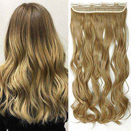 Extension capelli clip one piece 17 inch 43cm sintetico extension capelli ondulati fascia unica con 5 clip 3/4 full head 120g - biondo cenere