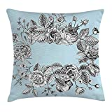 Easshorts Mint Throw Pillow Cushion Cover, Modern Stylized Vintage Bridal Bouquet Botany Shabby Chic Floral Graphic, Decorative Square Accent Pillow Case,Light Blue Black White 18 x 18 inch
