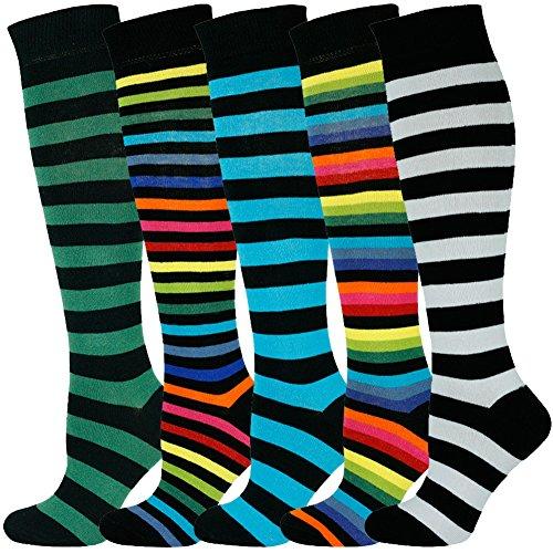 MySocks Unisex Kniehohe lange Socken Streifen Multi 504 -