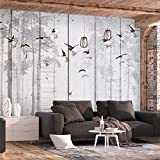 murando - Fototapete Bretter 400x280 cm - Vlies Tapete - Moderne Wanddeko - Design Tapete - Wandtapete - Wand Dekoration - Vögel grau Bäume f-C-0178-a-a