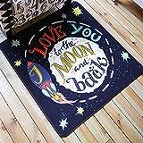 KOOCO 100 X 100 cm Blau Weltraum Square Teppich und Teppiche für Haus Wohnzimmer Schlafzimmer Cartoon Kind/Kinder Zimmer Teppiche Fußmatte Tapete