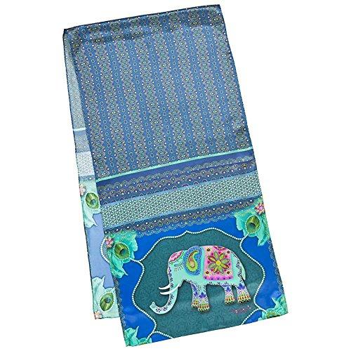 VON LILIENFELD Seidenschal Damen Satin lang Kunst Motiv Elefant Eva Maria Nitsche: Blue - Indien Maria Kostüm