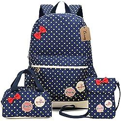 Bcony Conjunto de 3 Dot lindo Las mochilas escolares universidad/bolsas escolares/mochila niños niñas adolescentes + mini bolso + bolso crossbody,Azul Marino