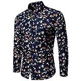 Battnot Herren Hemd Oversize Business Fashion Casual Muster-beiläufige Art und Weise, die Revers-langärmliges Shirts Blume Druckt Männer Große Größen Langarm Blau Hemden m 3XL XXXXL 4XL