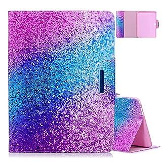 Tab 4 10.1 Schutzhülle, Aeeque Ultra Slim Hülle,Glänzend Sparkle Blau Lila Glitzer Muster Flip Lederhülle,Karten Slot Standfunktion Kunstleder Tasche für Samsung Galaxy Tab 4 10.1 Zoll SM-T530 T535