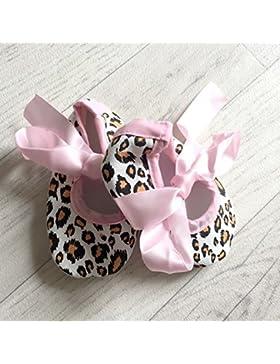 Bailarinas para bebé de 0 a 12 meses, diseño de leopardo, color rosa, 3 meses, 6/6/9/0 meses, 3 meses, 9/12 meses