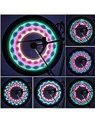 GOMYHOM GOMYHOM Bicicleta Impermeable de 32 LEDs Señal de Rueda de Bicicleta Habló luz Luces Impermeables Luces de Bike Rim Para Radios de Bicicleta los Accesorios del Ciclo de la Rueda de la Rueda de la MTB(32 Imgenes Diferentes, Interruptor de Encendido)