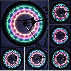 ICOCO Luces LED Impermeables para Rueda de Bicicletas con 32 Patrón Cambios de Diferente