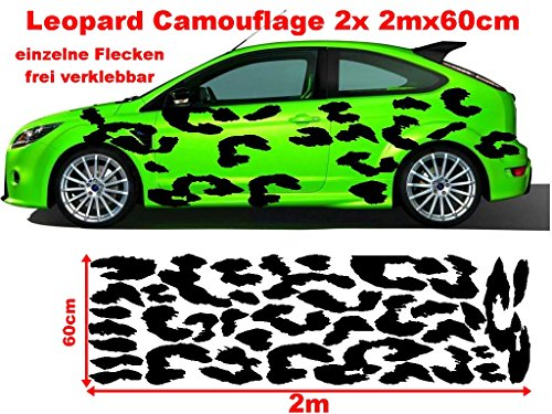 Leo Leopard 2x 2m Camouflage Camo einzelne Flecken Autoaufkleber Aufkleber Sticker Folie Style Bodystyle Karosserieaufkleber Karosseriefolie (Leopard-folie)