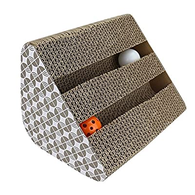 Cat Scratcher Cardboard , Myguru Kitty Cat Scratching Pad Lounger Toy with Inside bell-Balls and 1 Pack Catnip