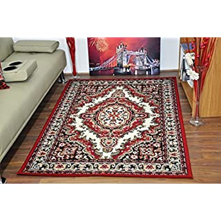 AHOC Medium Large Traditional Medallion Quality Rugs 7 Colours & Sizes Soft Pile 100% Polypropylene Cheap Rug Mats (Cream & Red, 80x150 CM (3'x5'))