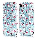 iPhone 7Fall, Slim Leder Flip iPhone 8Wallet [Standfuß] Magnetic Schutzhülle mit Kreditkartenschlitzen Weich TPU Bumper Back Case für Apple iPhone 7und iPhone 8, Flamingo