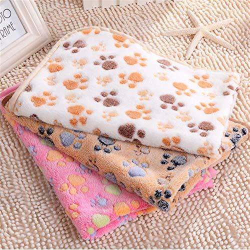 WERTU Haustier-Pfoten-Druck-Hundewelpen-Katzen-weiche Vlies-Decken-Bett-Matte Winter (Color : Color Camel, Size : S) -