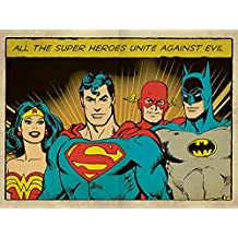 DC Comics 60 x 80 cm Heroes unirnos contra Evil Impresión de lienzo