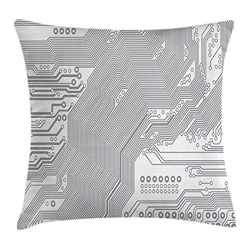 Cupsbags Digital Throw Pillow Cushion Cover, Computer Motherboard Electronic Hardware Technical Display Futuristic Plan Design, Decorative Square Accent Pillow Case, Grey White16 - Soft Square Bath Hardware
