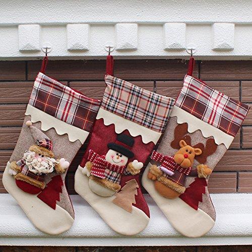 Weihnachten Patchwork Schnee Stiefel mit Plaid Dekoration 45cm (Santa + Schneemann + Elk) (Pre Gefüllt Christmas Stockings)