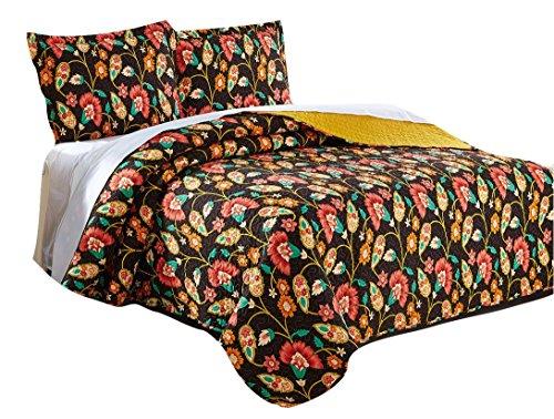 Dada Bettwäsche Kollektion elegante Ringelblume 's Garden Quilt Patchwork Tagesdecke, Wendedecke, Set, Floral, bunten gelb & braun, 2-3-teilig., Polyester-Mischgewebe, multi, California King -