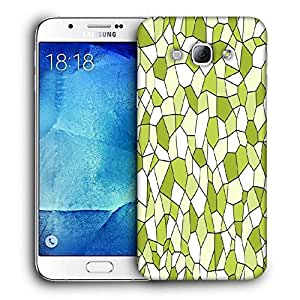 Snoogg Abstract Green Blocks Pattern Printed Protective Phone Back Case Cover For Samsung Galaxy A8