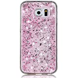 Sunroyal® Etui Transparent pour Samsung Galaxy S7 Edge (SM-G935F) Bling TPU Gel Coque Ultra Mince Paillette Case Cover Telephone Portable Soft Housse Cas Prime Flex Silicone Skin Protection Shell Coquille Couvrir Coverture Pare-Chocs Anti-Choc Bumper - Rose Rouge