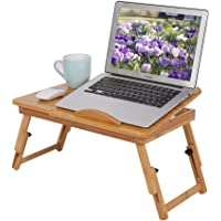 Zerone Table d'Ordinateur Portable PC de Lit Ajustable Pliable, Table d'Ordinateur avec Plateau de Lecture Inclinable…