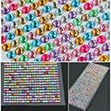 #8: 750pcs 3mm Rhinestone Self Adhesive Assorted Color Crystals Beads For Decoration Nail Art Car Stickers