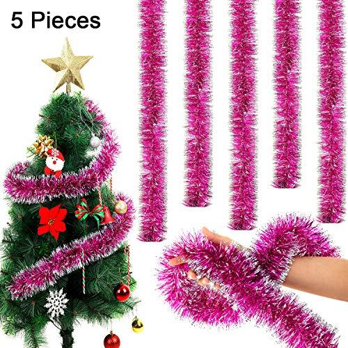 WILLBOND 5 Stücke 6,6 Füße Weihnachten Lametta Garland Snowy Lametta Twist Garland für Party Hanging Decke Dekorationen(Rosa Rot)