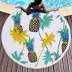 GSYAZTT Moda Redonda Toallas de Playa Suave Absorbente Microfibra Flores Piña Toalla The Playa Picnic mantita servilleta la PlagaPiña 3.150X150cm