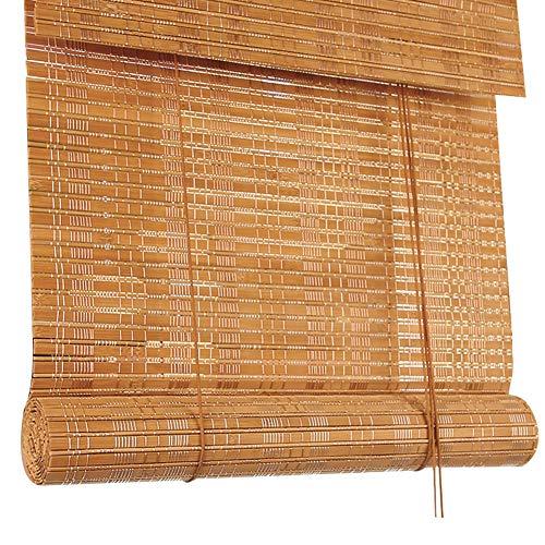 Tenda a rullo di bambù, persiane orizzontali con valance, avvolgibili cortina di bambù per blackout (dimensioni : 120x140cm)