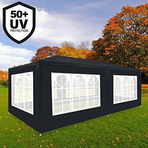 Deuba Festzelt Rimini 3x6m Anthrazit | 18m² Pavillon mit aufrollbaren 6 Seitenwänden | 18 Rundbogenfenster | Wasserabweisend | UV-Schutz 50 + | Farbauswahl
