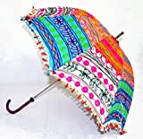 Jaipuri Patchwork Handmade Embroidery Work Design Cotton Vintage Umbrella 30 x 34 Inch Multi Color