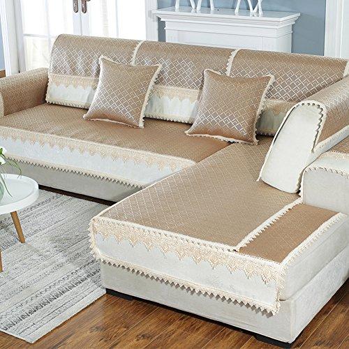 HM&DX Rattan-Cooling Sofa Abdeckung,Anti-rutsch Sectional Sofa slipcover beschützer Sommer pad Verschiedene größe -Khaki 80x210cm(31x83inch) -