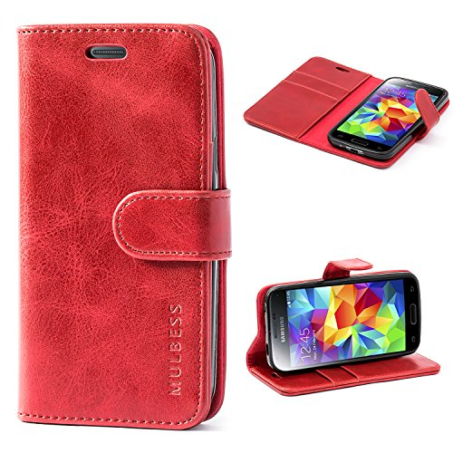 Mulbess Handyhülle für Samsung Galaxy S5 Mini Hülle, Leder Flip Case Schutzhülle für Samsung Galaxy S5 Mini Tasche, Wein Rot