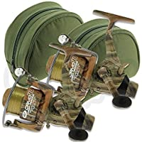 2 x NGT Camo40 Carp Free Runner 3BB Fishing Reel with 12lb Line + Spare Spool + Cases