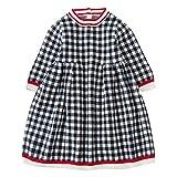 Kobay Babykleid Festlich Kids Baby Mädchen Strickpullover Kleid Wintergitter Häkeln Kleid Tops Kleidung(6-12M,Schwarz)