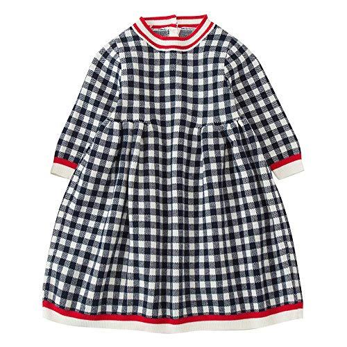 Mädchen Gestrickter Pullover Kleid Kinder Baby Wintergitter Kleid häkeln Tops Kleidung