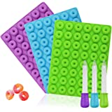 3-pack mini munk silikonform, YuCool non-stick matkvalitet silikon godis choklad gelé, iskub med 3 bonusdroppar-blå, grön, li