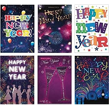2020 Good Wishes Happy New Year Card New Decade Raspberry Pink - Pack of 6 Single or Multi-Pack - JC0065 by Joy Celebrations /® SIX Choose Colour Small Card A6 Size