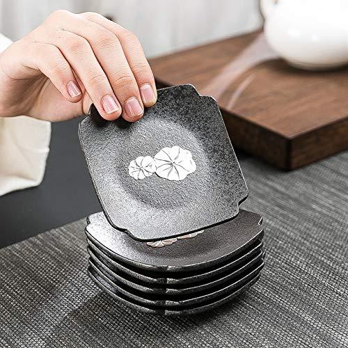 OUDA.ach Untersetzer-Set für 6 Getränke und passt zu jeder Größe Teetasse, Becher oder Gläser zum Schutz der Möbel vor Wasserspuren, Kratzern und Beschädigungen (Schwarze Keramik) -
