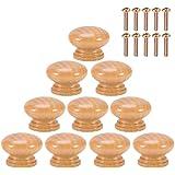 10 Stks S/M/L Natuurlijke Houten Handvat Ronde Paddestoel Kast Kast Lade Knoppen Trekt Handvatten met Schroeven (L33MM)
