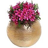 Runde Moderne Vase, Metallisch-Gold, Keramik, Blumen-/Pflanzengefäß, Topf/Deko-Schale, Vase, 17,1cm