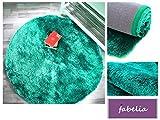 Hochflor Teppich Shaggy Gentle Luxus - Satin Luxury - Weich und Handgetuftet/In vielen bunten Farben (80 cm x 80 cm rund, Türkis)