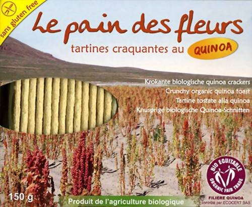 Le Pain des Fleurs Krokante Bio Cracker Quinoa 150g Packung (Knusprige Quinoa Schnitten) (Fleurs Cracker)