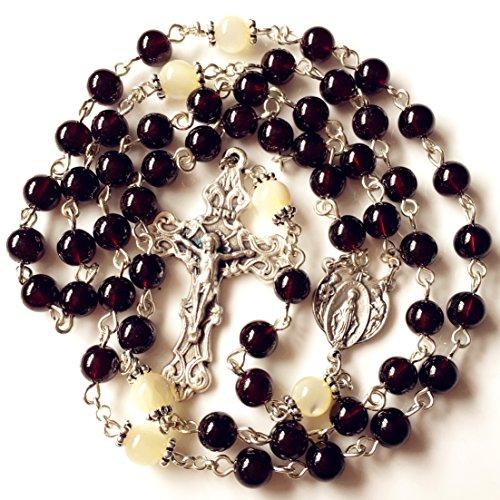 elegantmedical Gold Granat Edelstein Perlen Our Lady of Grace 5Jahrzehnt Rosenkranz Kreuz Halskette